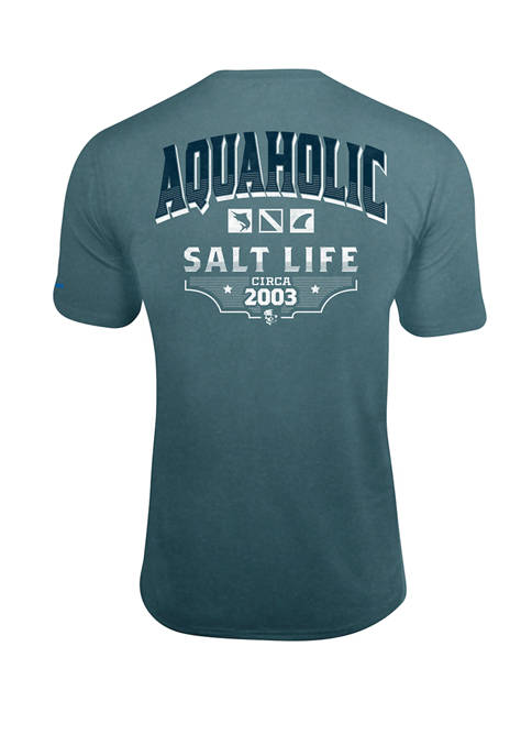 Salt Life Mens Aquaholic Icons Short Sleeve SLX