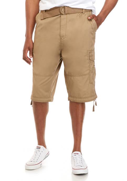 Big & Tall Perimeter Belted Light Weight Twill Messenger Shorts