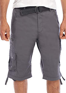 Big & Tall Shetland Belted Stretch Micro Ripstop Messenger Cargo Shorts