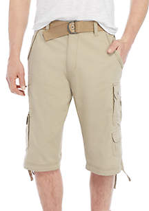 Shetland Belted Stretch Microripstop Messanger Cargo Shorts
