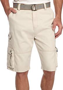 Eureka Belted Stacked Pocket Twill Cargo Shorts