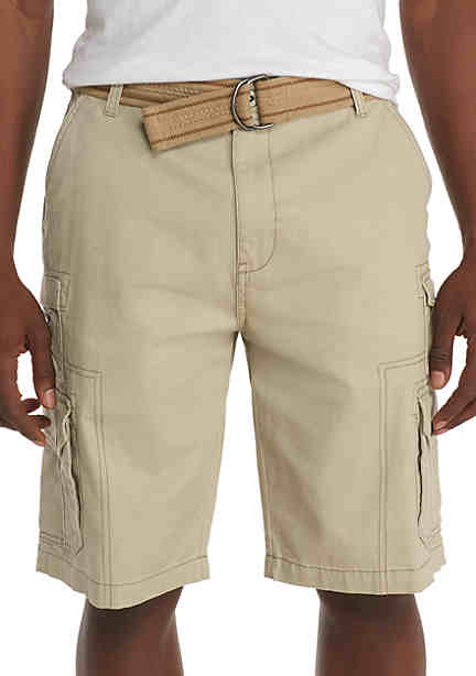 Plugg™ Capitol Belted Stacked Pocket Twill Cargo Shorts ...