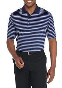 Heather Striped Pique Stretch Polo