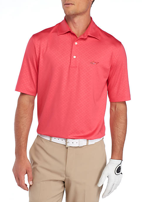 Short Sleeve Geo Embossed Stretch Polo Shirt