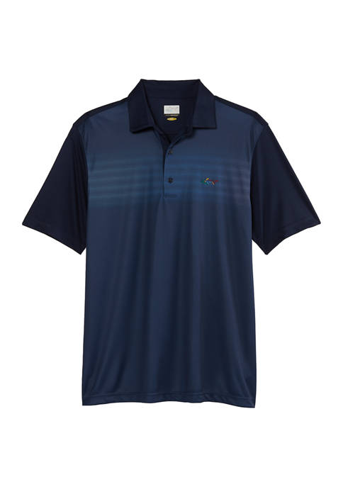 Mens Short Sleeve Fading Lines Chest Print Polo