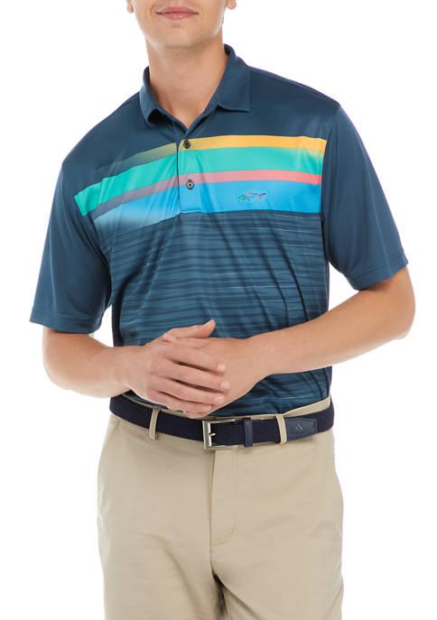 Mens Space Dye Multi Stripe Polo Shirt