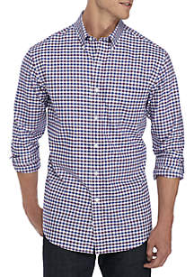 Long Sleeve Easy Care Oxford Gingham Dress Shirt