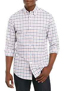 Saddlebred® Long Sleeve Plaid Oxford Shirt