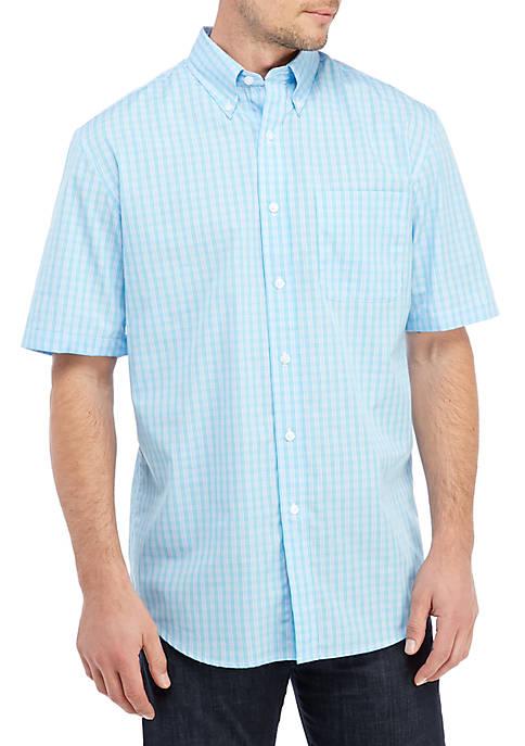 Short Sleeve Poplin Plaid Oxford Shirt