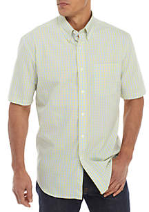Saddlebred® Short Sleeve Poplin Plaid Oxford Shirt