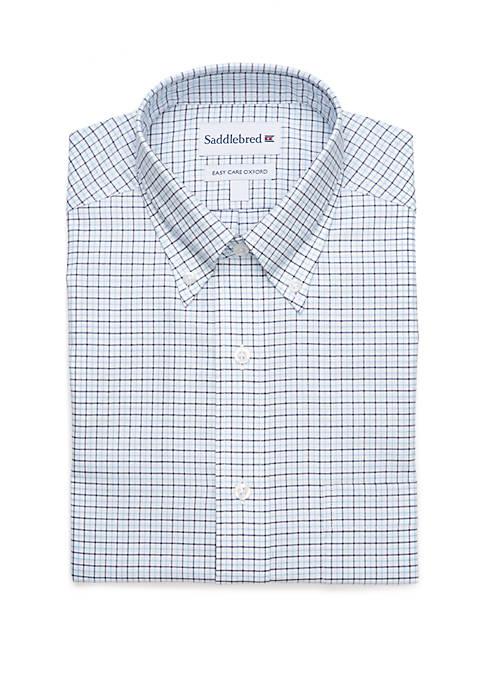 Long Sleeve Plaid Oxford Dress Shirt