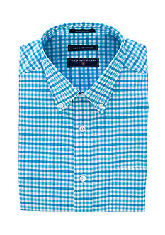 Saddlebred® Classic-Fit Short Sleeve Gingham Easy Care Oxford Dress Shirt
