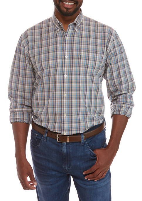 Crown & Ivy™ Big & Tall Plaid Button