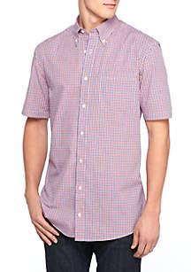 Short Sleeve Small Plaid Shirt