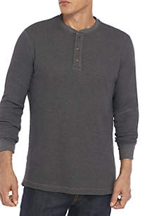 Long Sleeve Comfort Flex Stretch Solid Thermal Henley Shirt