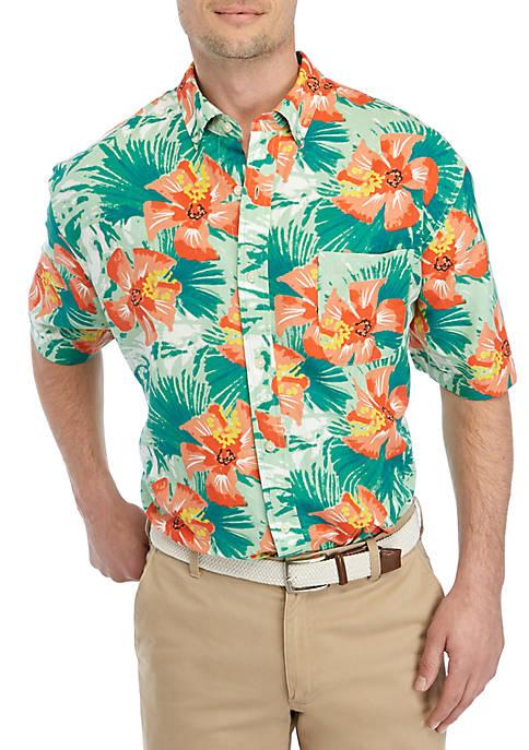Big & Tall Short Sleeve Tropical Button Down Shirt
