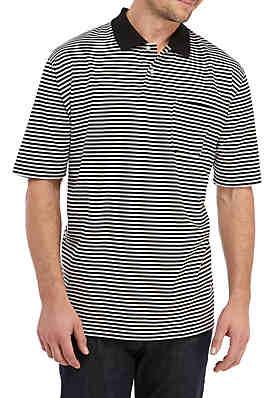 14f64b20fdace Saddlebred® Big   Tall Short Sleeve Striped Jersey Polo Shirt ...
