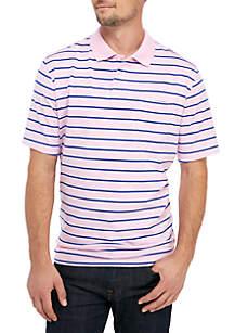 Saddlebred® Big & Tall Comfort Flex Short Sleeve Stripe Jersey Polo Shirt