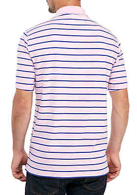 d87c92759bac4 ... Saddlebred® Big   Tall Comfort Flex Short Sleeve Stripe Jersey Polo  Shirt