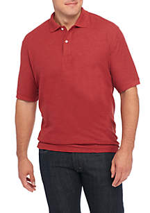 Big & Tall Short Sleeve Solid Comfort Flex Stretch Pique Polo