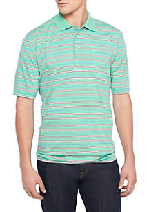 Big & Tall Short Sleeve Stripe Comfort Flex Stretch Jersey Polo