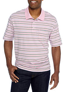Big & Tall Short Sleeve Stripe Comfort Flex Stretch Jersey Polo