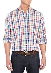Saddlebred® Big & Tall Long Sleeve Classic Fit Plaid Shirt