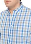 Big & Tall Easy Care Short Sleeve Poplin Plaid Woven Shirt