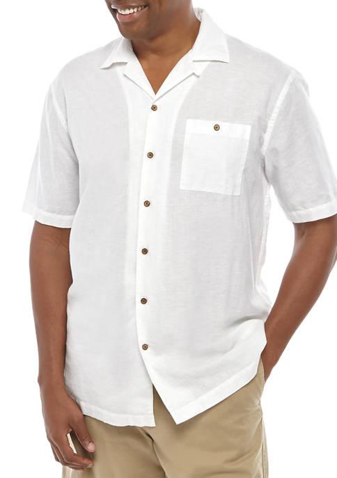Big & Tall Short Sleeve Linen Button Down Shirt