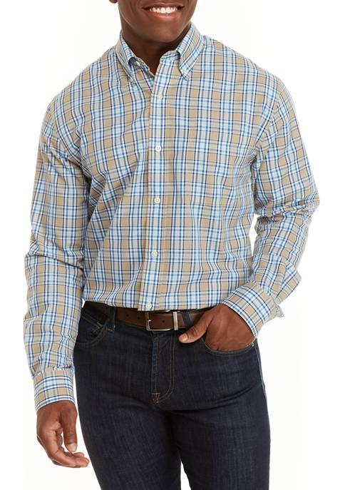 Mens Long Sleeve Plaid Button Front Shirt