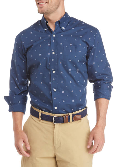 Mens Long Sleeve Woven Button-Down Shirt