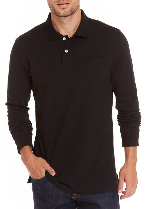 Mens Long Sleeve Solid Polo