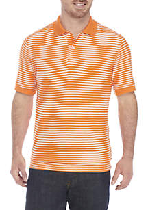 Short Sleeve Stripe Comfort Flex Stretch Pique Polo
