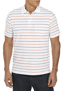Short Sleeve Stripe Comfort Flex Stretch Jersey Polo