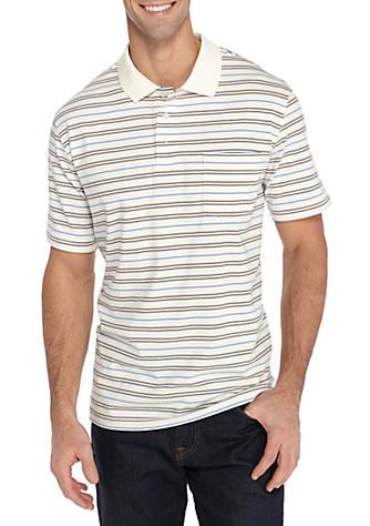 aa42952bd23d6 Saddlebred® Short Sleeve Stripe Comfort Flex Stretch Jersey Polo ...