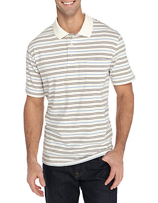 32bd1a0d2ff250 Saddlebred® Short Sleeve Stripe Comfort Flex Stretch Jersey Polo