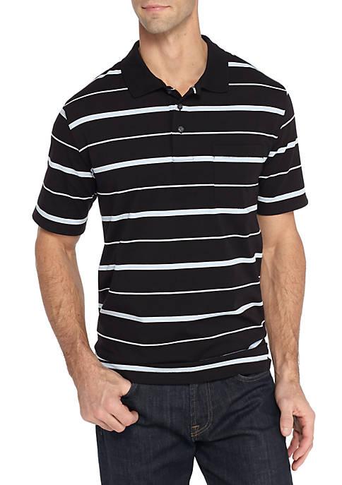 c99dccdc4ee42 Saddlebred® Short Sleeve Stripe Comfort Flex Stretch Jersey Polo
