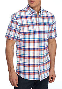 Short Sleeve Comfort Flex Stretch Classic Fit Oxford Shirt