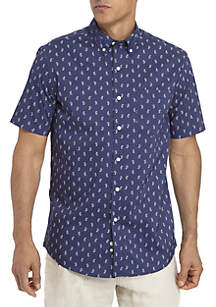 Short Sleeve Woven Paisley Print Shirt