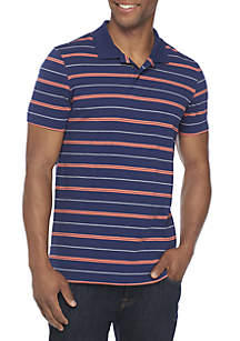 Short Sleeve Stripe Comfort Flex Stretch Tailored Fit Jersey Polo