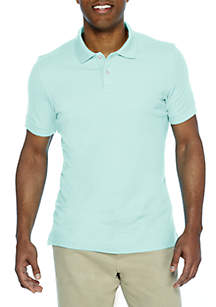 Short Sleeve Solid Comfort Flex Stretch Pique Tailored Fit Polo