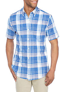 Short Sleeve Comfort Flex Stretch Tailored Fit Oxford Shirt