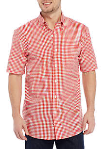 Short Sleeve Small Plaid Button Down Shirt