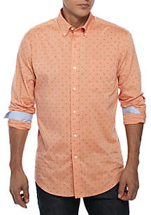 Long Sleeve Comfort Flex Stretch Classic Fit Traveler Wrinkle Free CVC Shirt