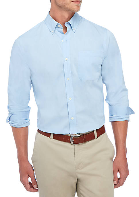 Saddlebred® Long Sleeve Solid Button-Down Shirt
