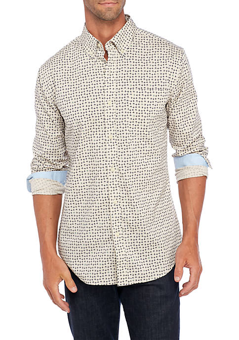 Saddlebred® Long Sleeve Printed Button Down Shirt
