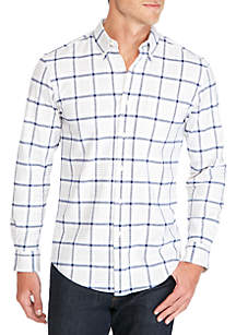 Saddlebred® Long Sleeve Oxford Plaid Button Down Shirt