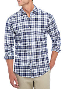 Long Sleeve Oxford Plaid Button Down Shirt