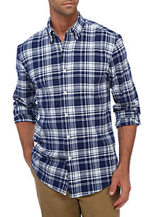 Saddlebred® Long Sleeve Oxford Plaid Button Down Shirt
