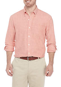 Long Sleeve Solid Oxford Button Down Shirt